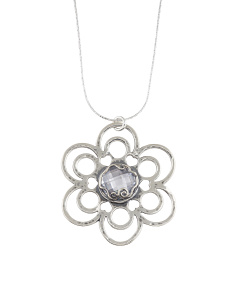 Made In Israel Sterling Silver Cubic Zirconia Flower Necklace