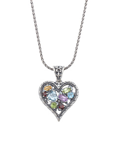 Made In Israel Sterling Silver Multi Gem Heart Necklace