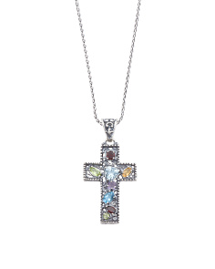 Made In Israel Sterling Silver Multigem Cross Necklace