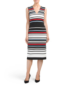 Ottoman Stripe Midi Sheath Dress