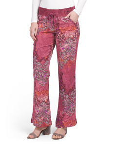 Juniors Printed Smocked Waist Pants