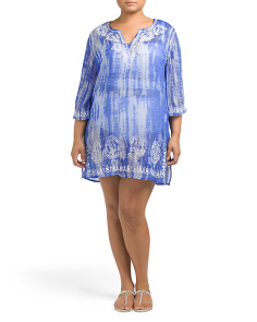 Plus Tie Dye Cover-Up Tunic