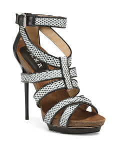 Caged High Heel Leather Sandals