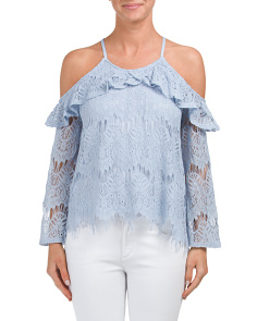 Juniors Cold Shoulder Lace Top