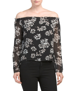 Juniors Off The Shoulder Printed Top