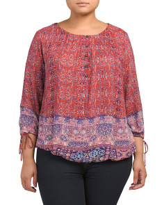 Plus Tapestry Print Top