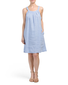 Sleeveless Halter Linen Dress