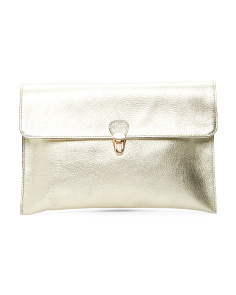 Made In Italy Metallic Leather Clutch