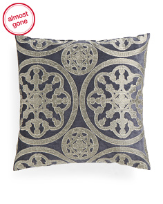 Made In USA 24x24 Metallic Chenille Medallion Pillow