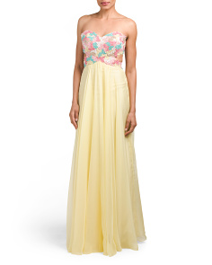Strapless Flower Embellished Gown