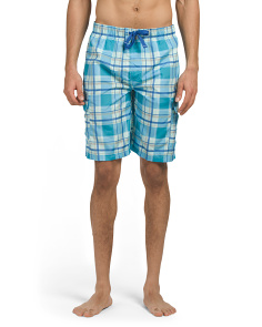 Plaid Cargo Microfiber Swim Shorts
