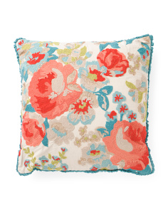 20x20 Floral Chainstitch Pillow With Fringe