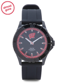 Men's Wisconsin Badgers Blackout Silicone Strap Watch