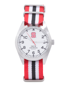 Men's NC State Wolfpack Striped Nato Strap Watch