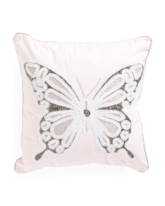 Kids Made In India 20x20 Embroidered Butterfly Pillow