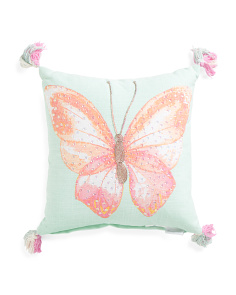 Kids Made In India 16x16 Sequin Butterfly Pillow