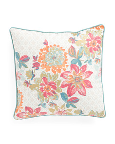 20x20 Metallic Floral Printed Pillow