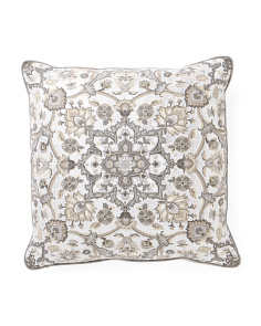 Made In India 20x20 Foiled Medallion Pillow With Beading