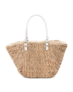 Straw Tote With Contrast Handle
