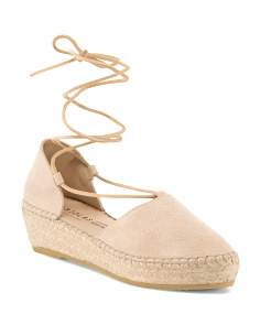 Made In Spain Lace Up Suede Espadrilles