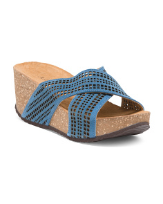 Made In Italy Crossband Leather Sandals