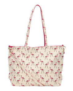 Reversible Flamingo To Solid Pink Tote