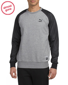 Baseball Crew Neck Fleece Top