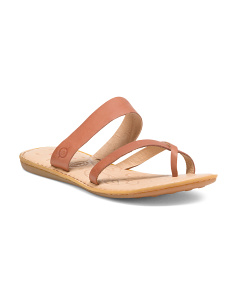 Toe Loop Leather Flat Sandals