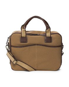 Canvas With Leather Trim Briefcase