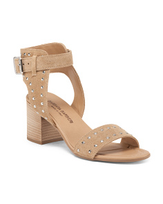 Made In Italy Studded Suede Stacked Heel Sandals