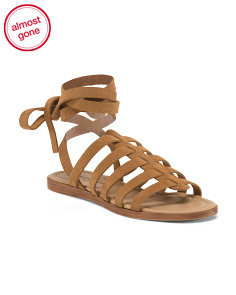 Made In Italy Lace Up Leather Sandals