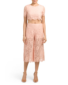 Juniors Lace Culotte And Crop Top Set
