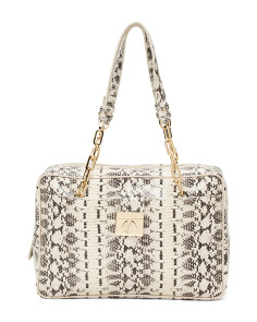 Made In Italy Snakeprint Leather Satchel