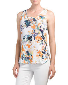 Floral Printed Linen Tank