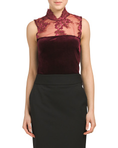 Juniors Lace High Neck Velvet Top