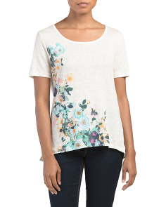 Floral Printed Linen Tee