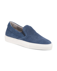 Men's Made In Italy Woven Suede Sneakers