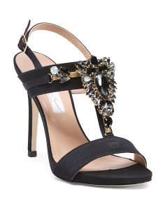 Made In Italy Ankle Strap Satin High Heels