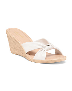 Made In Italy Knot Xband Leather Wedges