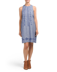 Crew Neck Embroidered Linen Dress