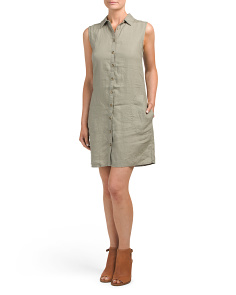 Collared Linen Shirt Dress