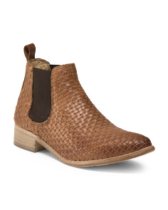 Made In Italy Woven Leather Chelsea Bootie