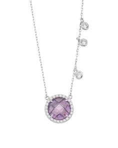 Sterling Silver Lavender Cubic Zirconia Charm Necklace
