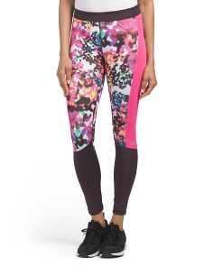 Floral Print Colorblock Tights