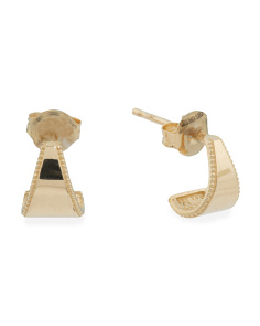 14k Gold Triangle Curve Stud Earrings