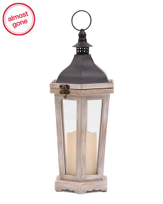 15in Distressed Wood LED Lantern