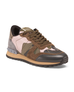 Made In Italy Camo Leather And Suede Sneakers