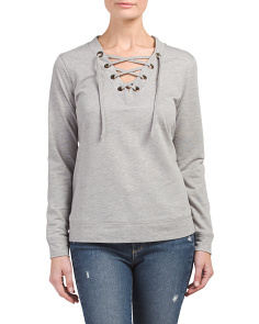 French Terry Lace Up Sweatshirt
