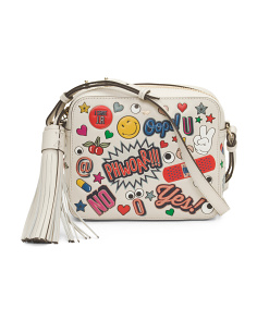 Made In Italy All Over Sticker Leather Crossbody