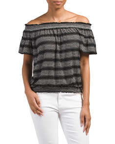 Off The Shoulder Striped Jersey Top